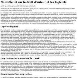 Nouvelle loi sur le droit d'auteur et logiciels