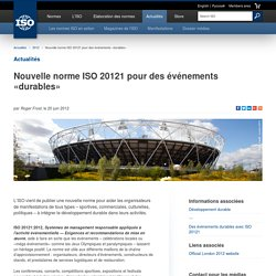 Nouvelle norme ISO 20121 pour des événements «durables» (2012-06-20)