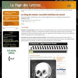 Le blog de classe, nouvelle interface du savoir