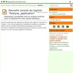 """Nouvelle version du logiciel """"Analyse_application"""" - Sciences de la vie et de la Terre"""