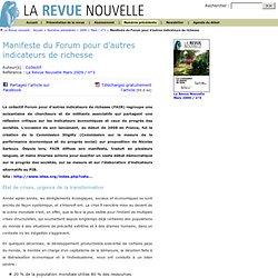 La Revue nouvelle : Manifeste du Forum pour d'autres indicateurs de richesse