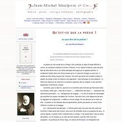 Qu'est-ce que la poésie ? par Jean-Michel Maulpoix