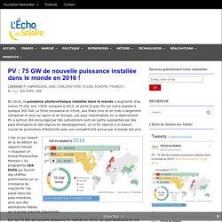 PV: 75 GW de nouvelle puissance installée dans le monde en 2016! - L'Echo du Solaire