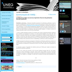 Nouvelles et communiqués - UNEQ