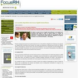 Les nouvelles dispositions de la loi sur l'égalité homme-femme. Focus RH.