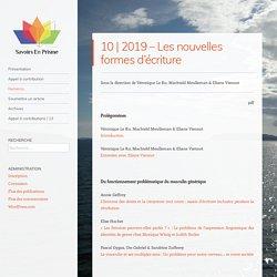 2019 – Les nouvelles formes d'écriture – Savoirs en Prisme