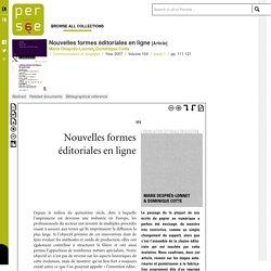 Nouvelles formes éditoriales en ligne - Persée