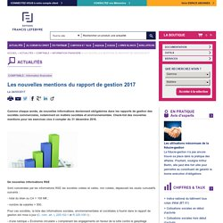 Les nouvelles mentions du rapport de gestion 2017