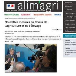 Nouvelles mesures en faveur de l'agriculture et de l'élevage