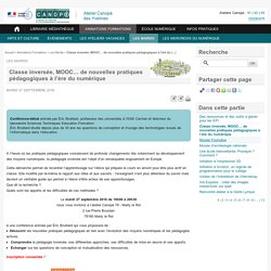 Classe inversée, MOOC… de nouvelles pratiques pédagogiques à l'ère du numérique - L'Atelier Canopé 78 – Marly-le-Roi