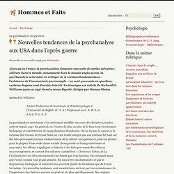 Nouvelles tendances de la psychanalyse aux USA dans l'après guerre
