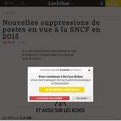 Nouvelles suppressions de postes en vue à la SNCF en 2015, Tourisme - Transport