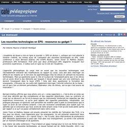 Les nouvelles technologies en EPS : ressource ou gadget ?