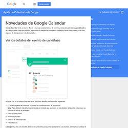 Novedades de Google Calendar - Ayuda de Calendario de Google