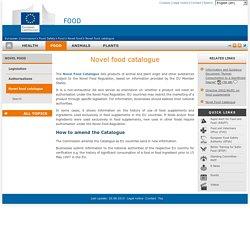COMMISSION EUROPEENNE - Novel food catalogue.