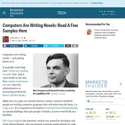Computers Are Writing Novels: Read A Few Samples Here