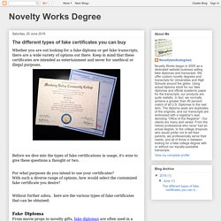 Novelty Works Degree: The different types of fake certificates you can buy