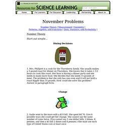 November - Open-Ended Math Problems