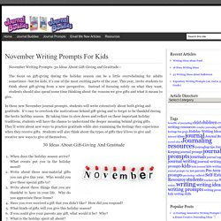 Giving and Thankfulness Writing Prompts for Kids