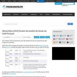 [Novembre 2012] Toutes les levées de fonds du web français