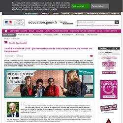 Jeudi 8 novembre 2018 : journée nationale de lutte contre toutes les formes de harcèlement - Ministère de l'Éducation nationale et de la Jeunesse