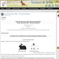 Bac ES Novembre 2007 – Nouvelle Calédonie » SVT - Académie de Besançon