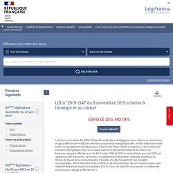 2019-1147 du 8 novembre 2019 relative à l'énergie et au climat - Dossiers législatifs