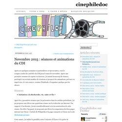 Novembre 2015 : séances et animations du CDI