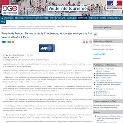 Paris-Ile de France : Six mois après le 13 novembre, les touristes étrangers se font toujours attendre à Paris