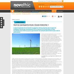 Trop de contraintes pour l'éolien terrestre ? - Energies renouvelables - Energies
