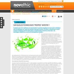 NOVETHIC Sur quelles technologies propres investir ? - Energies