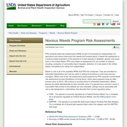 Noxious Weeds Program Risk Assessments