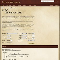 NPC Generator for D&D - Myth-Weavers