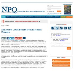 Nonprofits Could Benefit from Facebook Changes