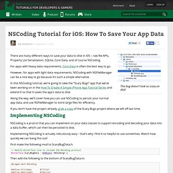 How To Save Your App Data With NSCoding and NSFileManager