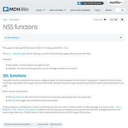 NSS functions - MDC Doc Center