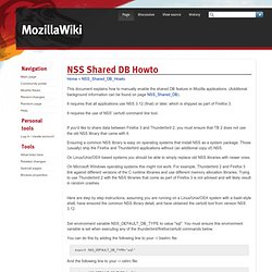NSS Shared DB Howto