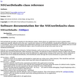 NSUserDefaults class reference