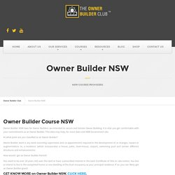 Owner Builder Courses in NSW – Owner Builder Club