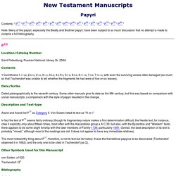 NT Manuscripts - Papyri