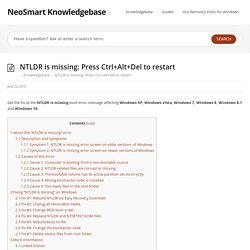 NTLDR is missing: Press Ctrl+Alt+Del to restart