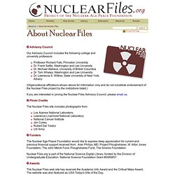 Nuclear Files: About Us: About the Nuclear Files