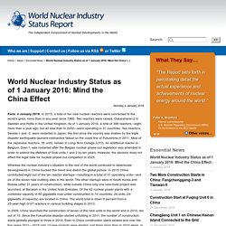 World Nuclear Industry Status as of 1 January 2016: Mind the China Effect