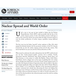 Nuclear Spread and World Order