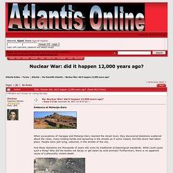 Nuclear War: did it happen 12,000 years ago?
