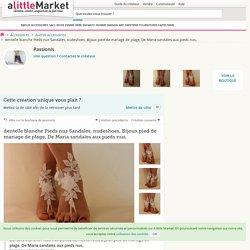 dentelle blanche Pieds nus Sandales, nudeshoes, Bijoux pied de mariage de plage, De Maria sandales aux pieds nus, : Autres accessoires par passionis