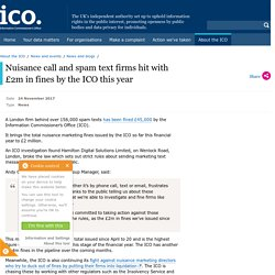 Nuisance call and spam text firms hit with £2m in fines by the ICO this year