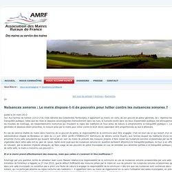 Nuisances sonores : Le maire dispose-t-il de pouvoirs pour lutter contre les nuisances sonores? > Maires Ruraux de France