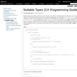 Nullable Types (C# Programming Guide)
