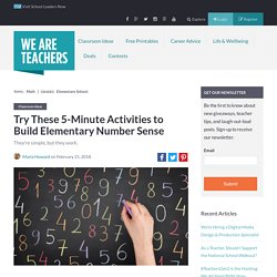 Number Sense Activities for the Classroom
